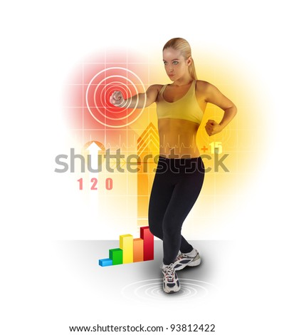 A young woman is exercising on a white background and punching a target with various work out icons around her. Use it for a healthy life or sport concept.