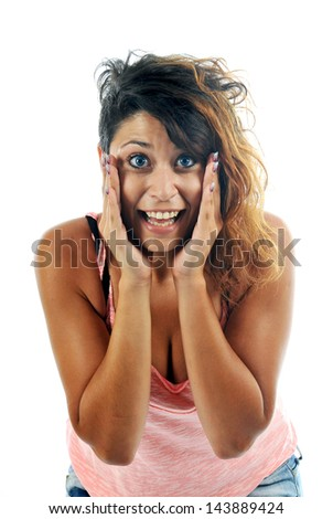 a young woman is surprised in studio
