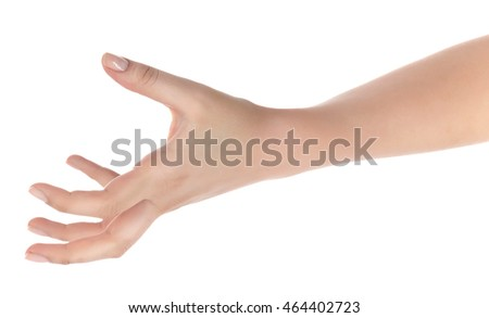 A young woman's hand, palm open.White background.