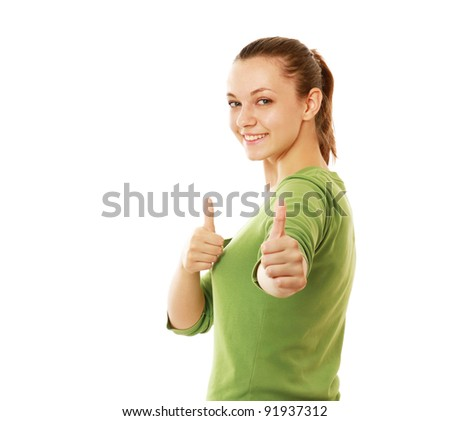 A young woman showing ok, isolated on white background - stock photo