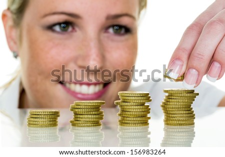 a young woman stacks coins. photo icon for save, growth, retirement.