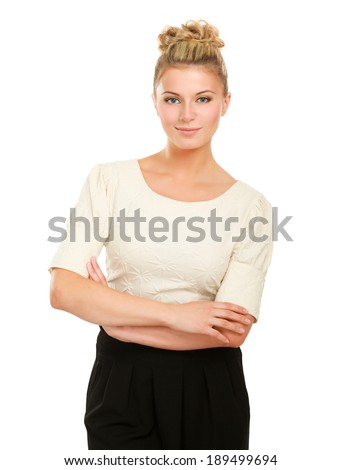A young woman standing, isolated on white background
