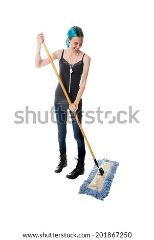 A young woman sweeps up dirt with her broom.  Isolated on white with room for your text.