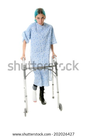 A young woman using crutches to help heal her recent foot injury.  isolated on white with room for your text.