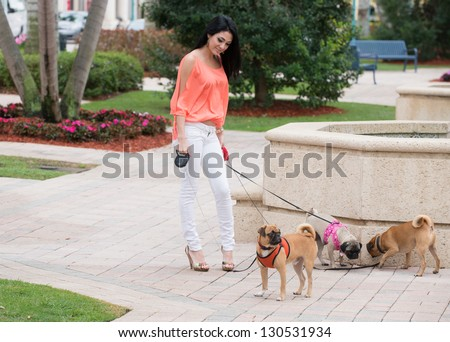 A young woman walking three dogs of pug breed. - stock photo