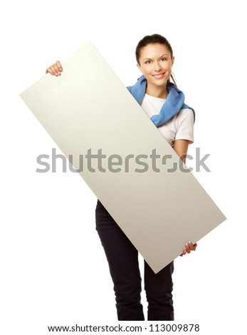 A young woman with a blank, isolated on white background
