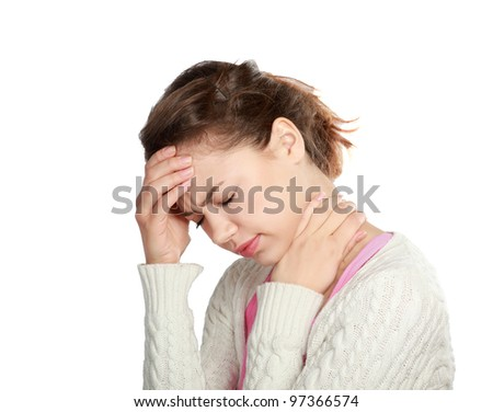 A young woman with a headache holding head, isolated on white background - stock photo