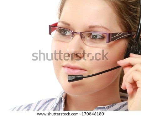 A young woman with a headset - stock photo