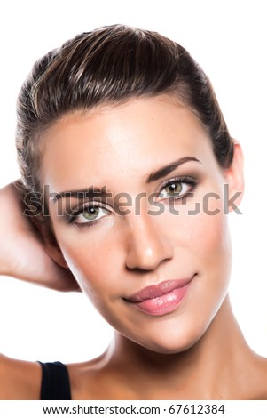 A young woman with a pretty wearing makeup and smiling - stock photo