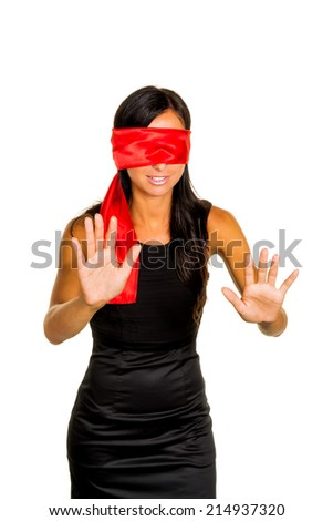 a young woman with fastened eyes. - stock photo