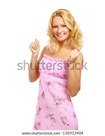 A young woman with something in her fists - isolated on white background - stock photo