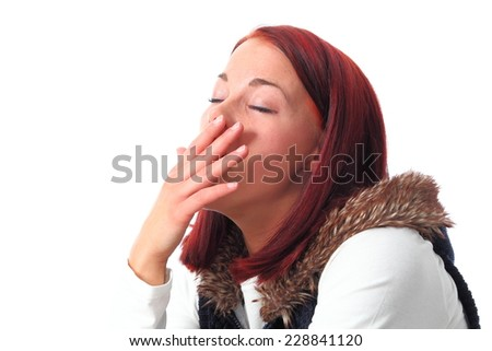 A Young woman Woman yawning isolated on white - stock photo