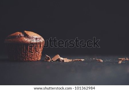 A yummy Chocolate cupcake and chocolate shavings - stock photo