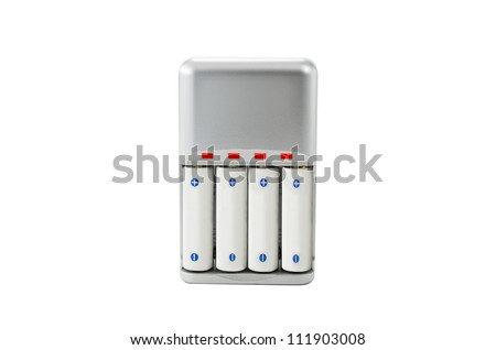 AA battery charger battery charger isolated on white background. - stock photo