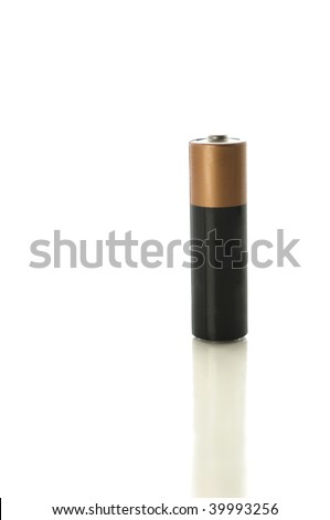 AA battery isolated on white with clipping path - stock photo