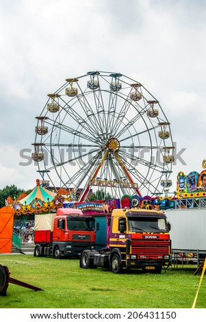 AABENRAA, DENMARK - JULY 6 - 2014: Ferris wheel at a funfair facility - stock photo