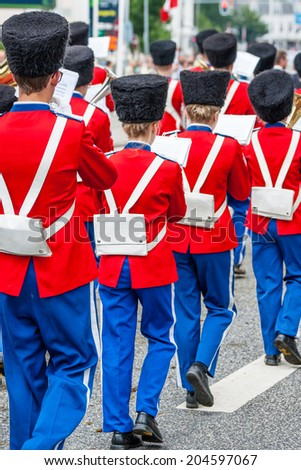 AABENRAA, DENMARK - JULY 6 - 2014: Tambour corps at a parade at the annual tilting festival in Aabenraa