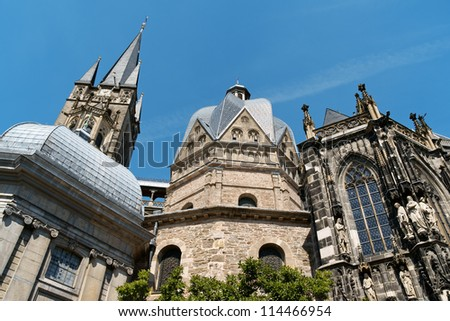 Aachen Cathedral also known as Imperial Cathedral or Royal Church of St. Mary at Aachen, was consecrated in 805 by Pope Leo III in honor of the Virgin Mary. Aachen, Germany.
