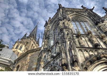 Aachen cathedral of Charlemagne against a blue sky in Germany