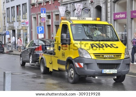 Aachen,GERMANY-AUGUST 02, 2014: Pound, removal of a car in the city of Aachen