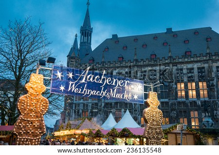 AACHEN, GERMANY - DECEMBER 6, 2014: Christmas market in Aachen, Germany. Aachen is a city with population of 260,000 in North Rhine-Westphalia. - stock photo