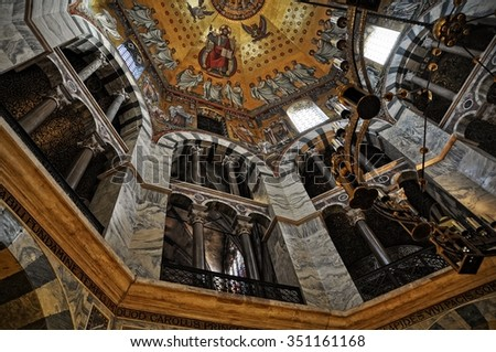 AACHEN, GERMANY - 4 JANUARY 2014: Inside the Aachen Cathedral. The Aachen Cathedral is from 800 Anno Domini and is listed under the world heritage sites of the UNESCO.