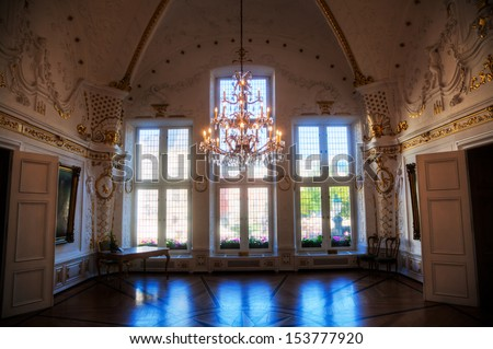 AACHEN, GERMANY - SEPTEMBER 04: baroque interior in a room of the Aachen Town Hall on September 04, 2013 in Aachen. The town hall is a famous historical building from 14th century and today a museum.