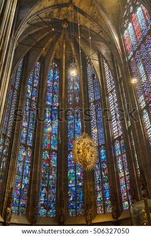 Aachen, Germany - September 25, 2016: stained glass window in the Aachen Cathedral,  the oldest Roman Catholic church in northern Europe, Germany