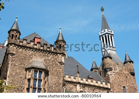Aachen Town Hall, in gothic style, was built by citizens on the ruins of Charlemagne's Palace in the 14th Century.