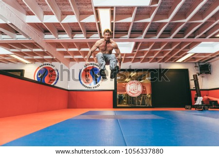 Aalst, Belgium - October 13, 2012: professional stuntman O. B. on training