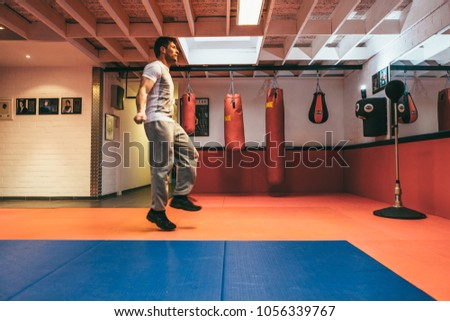 Aalst, Belgium - October 13, 2012: professional stuntman O.B. on training for the next movie