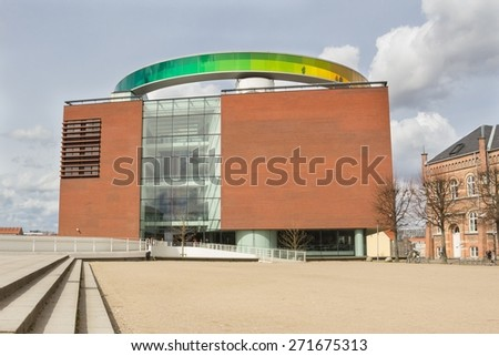 Aarhus, Denmark - April 12, 2015: ARoS Art Museum is the main art museum in Aarhus; on the roof you can walk around in the rainbow panorama with views of the surrounding city.
