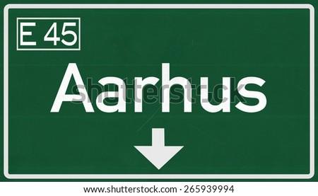 Aarhus Denmark Highway Road Sign - stock photo