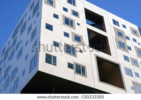 AARHUS, DENMARK - NOVEMBER 24, 2016:  New modern apartment buildings with windows all over on the port of Aarhus, November 24, 2016