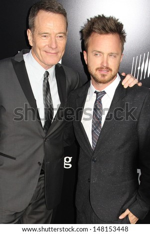"Aaron Paul and Bryan Cranston at the ""Breaking Bad"" Special Premiere Event, Sony Studios, Culver City, CA 07-24-13 - stock photo"