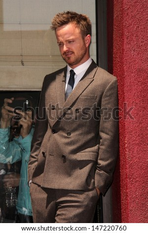 Aaron Paul at the Bryan Cranston Star on the Hollywood Walk of Fame Ceremony, Hollywood, CA 07-16-13 - stock photo