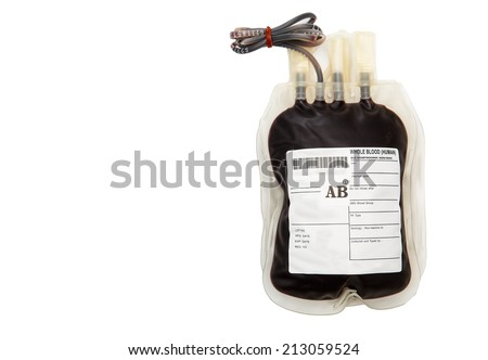 AB group blood bag with tube on white background