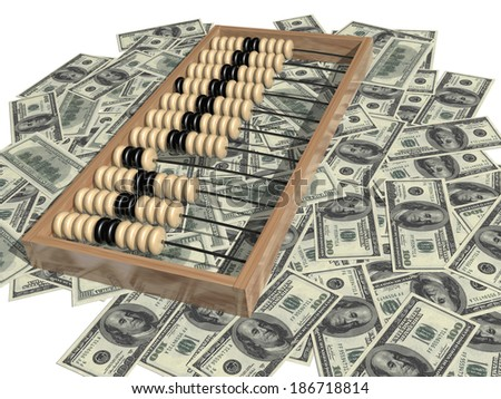 Abacus and money, one hundred dollar bill