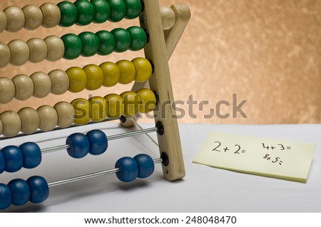 Abacus as a helping hand. - stock photo