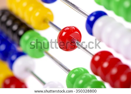 abacus as help for calculation at school - stock photo