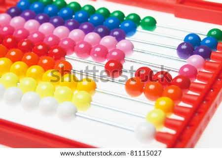 Abacus toy calculator over white background, not isolated
