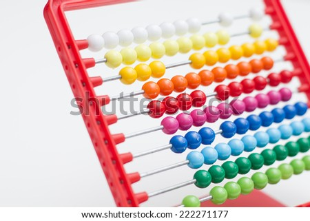 Abacus traditional calculating tool over white.