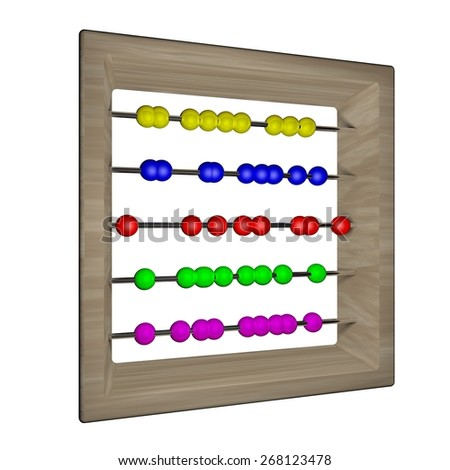Abacus with balls of different colors isolated over white, 3d render, square image