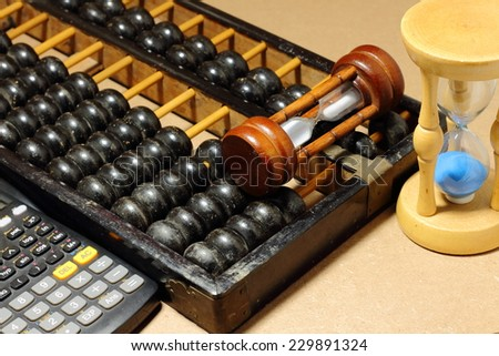 abacus with calculator - stock photo