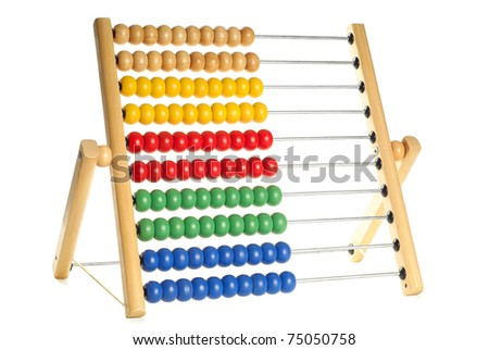 Abacus with many colorful beads isolated over pure white background - stock photo