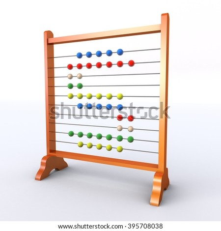 Abacus with multicoloured beads in the shape of the letter S