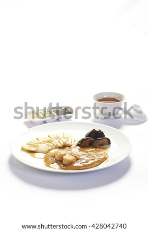 abalone,shark fin and scallop on white background,Chinese cuisine. - stock photo