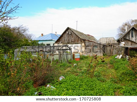 abandoned agriculture. house in the village - stock photo