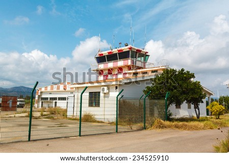 abandoned airport and control tower. Europe, Italy - stock photo