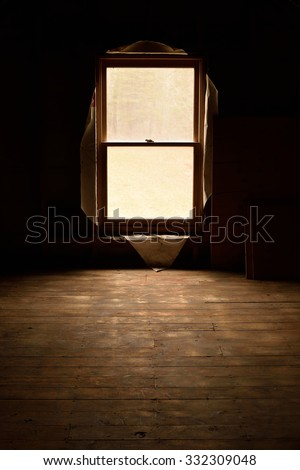 Abandoned Attic in Old House - stock photo